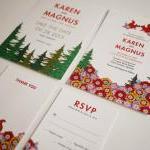 Modern Woodland Wedding Invitation ..