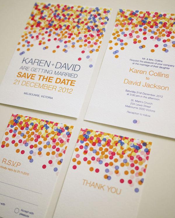 Colorful Confetti - Wedding Invitation Set (PRINTABLE) - Set of 4