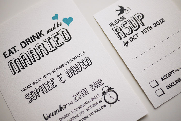 Eat. Drink And Be Married   Wedding Invitation Sample Set