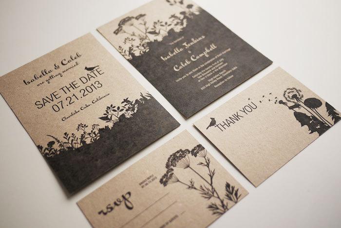 Nature Wedding Invitation Set Printable Set Of 4 On Luulla