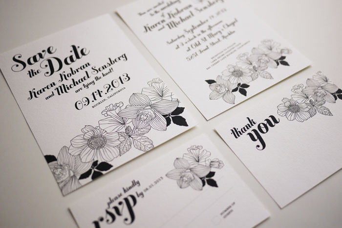 Elegant Black And White Wedding Invitation Set
