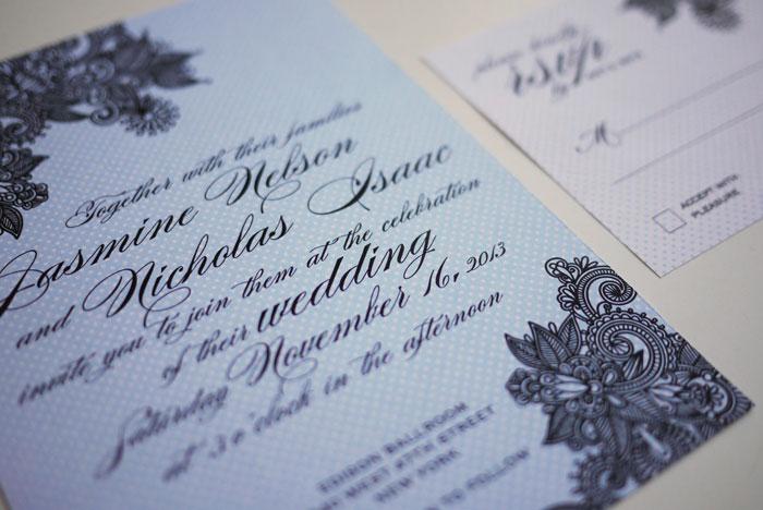 Elegant Henna Design - Modern Indian Wedding Invitation Set