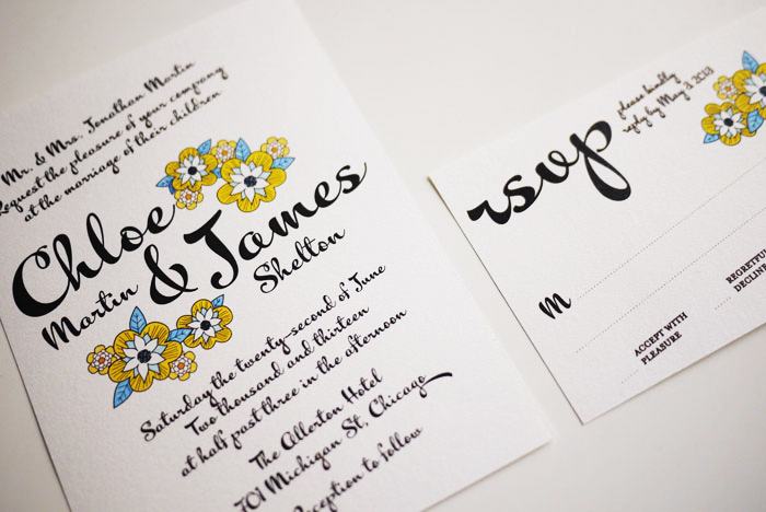 Yellow daisy bold script modern wedding invitation sample set on yellow daisy bold script modern wedding invitation sample set filmwisefo