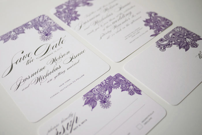 Henna Print Modern Indian Wedding Invitation Suite