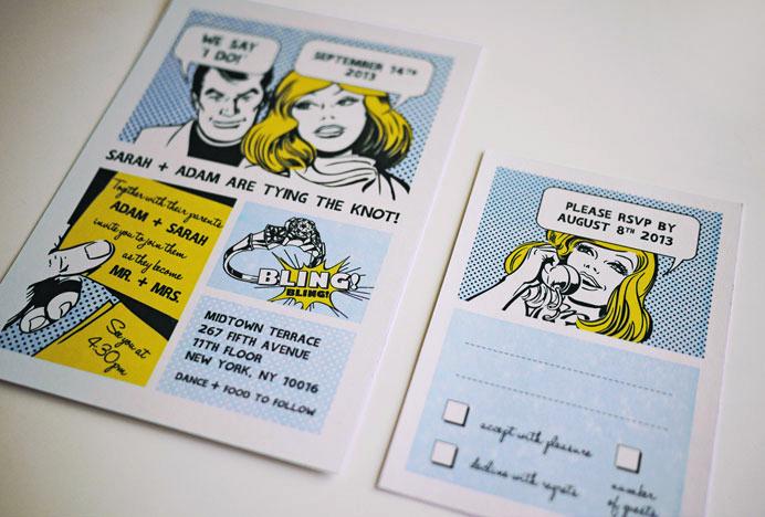 the comic strip fun wedding invitation set - Fun Wedding Invitations