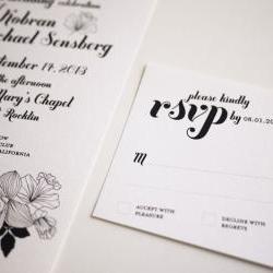 Elegant Black and White Wedding Invitation Sample Set
