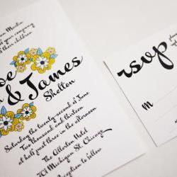 Yellow Daisy Bold Script - Modern Wedding Invitation Sample set