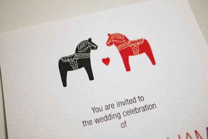 Scandinavian Dala Horse Wedding Invitation Printable On Luulla